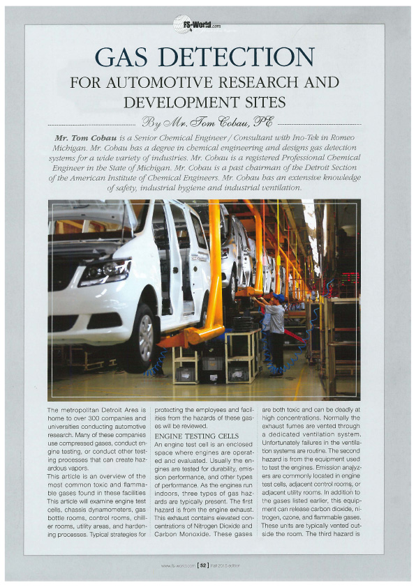 Gas Detection For Automotive Research and Development Sites